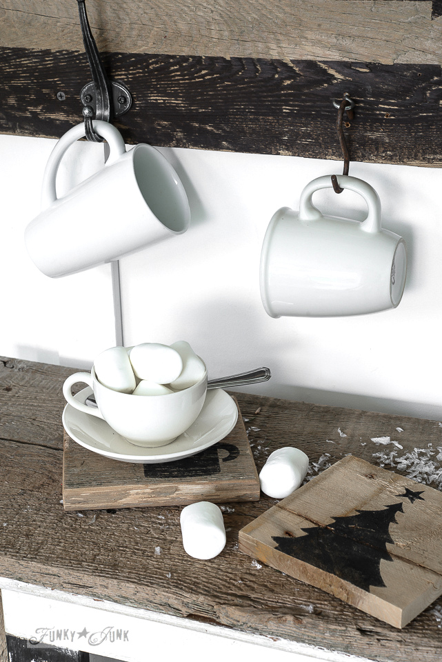 Hot Cocoa bar with white mugs