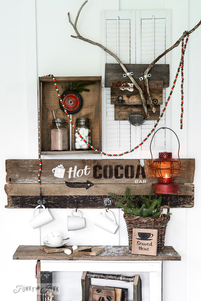 A reclaimed wood hot cocoa bar using Funky Junk's Old Sign Stencils / funkyjunkinteriors.net