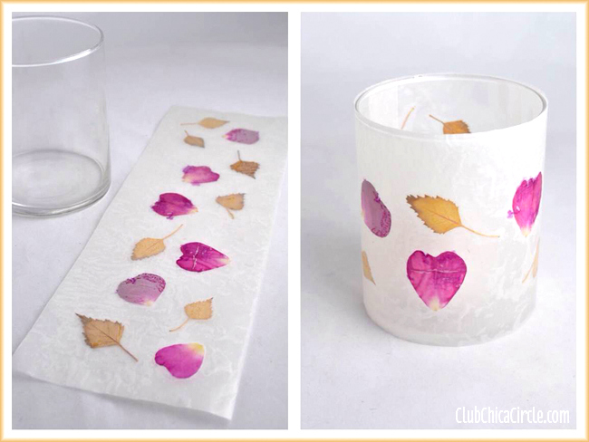 Leaf and Flower Petal Wax Paper Votive Candle Holders by Club Chica Circle, featured on Funky Junk Interiors