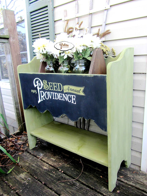 Planter With Antique Typography by Patina Paradise, featured on Funky Junk Interiors