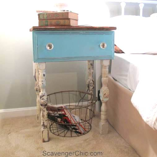Dresser drawer nightstand, by Scavenger Chic, featured on Funky Junk Interiors