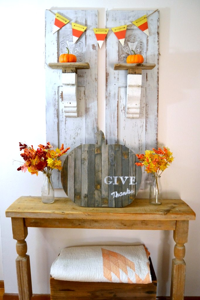 "Repurposed ""Give Thanks"" Pumpkin by My Creative Days, featured on Funky Junk Interiors"