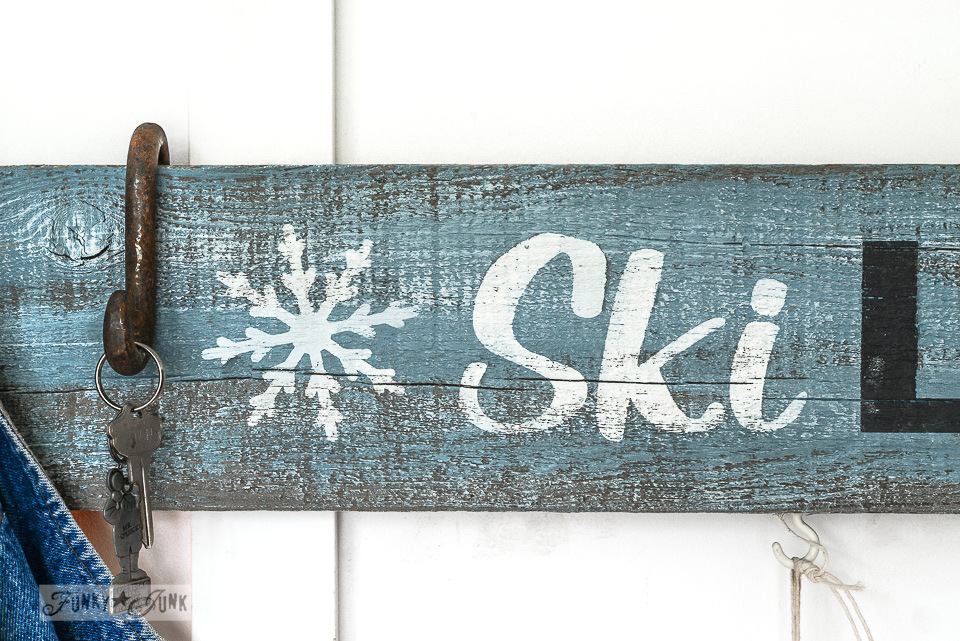 Ski Lodge winter sign entryway using Funky Junk's Old Sign Stencils / funkyjunkinteriors.net