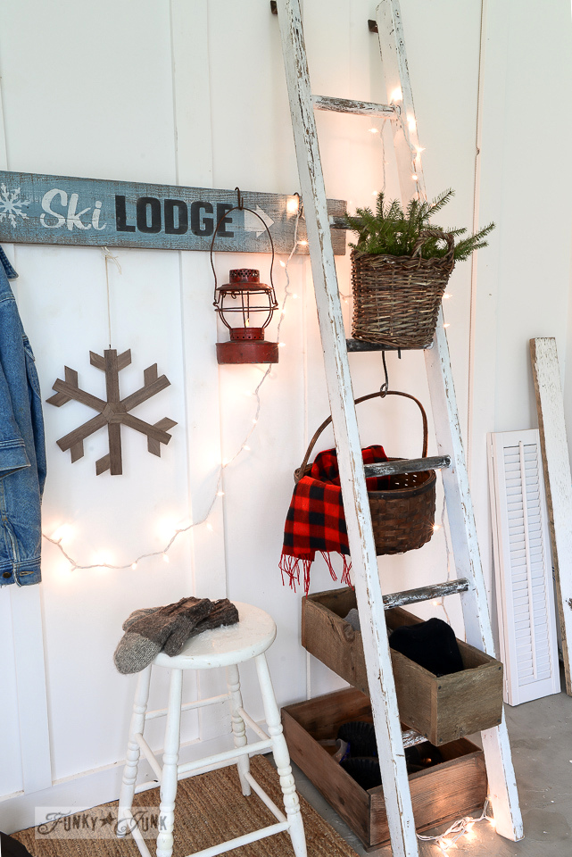 Ladder and crate organizer / Ski Lodge winter sign entryway using Funky Junk's Old Sign Stencils / funkyjunkinteriors.net