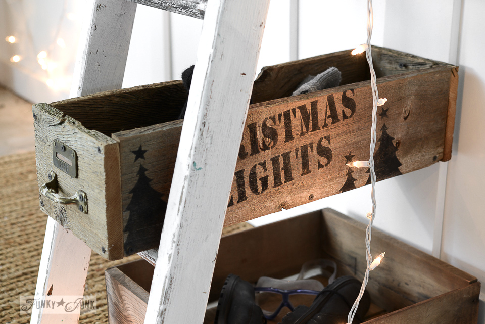 Christmas Lights crate / Ski Lodge winter sign entryway using Funky Junk's Old Sign Stencils / funkyjunkinteriors.net