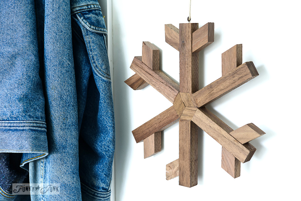 handmade wooden snowflake for winter decorating, made by My Altered State