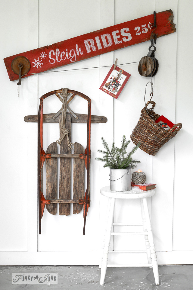 Sleigh Rides Christmas card holder, made with Funky Junk's Old Sign Stencils / funkyjunkinteriors.net