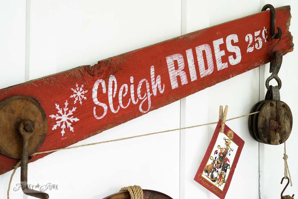 Sleigh Rides Christmas card holder sign, part of Funky Junk's Old Sign Stencils winter collection / funkyjunkinteriors.net