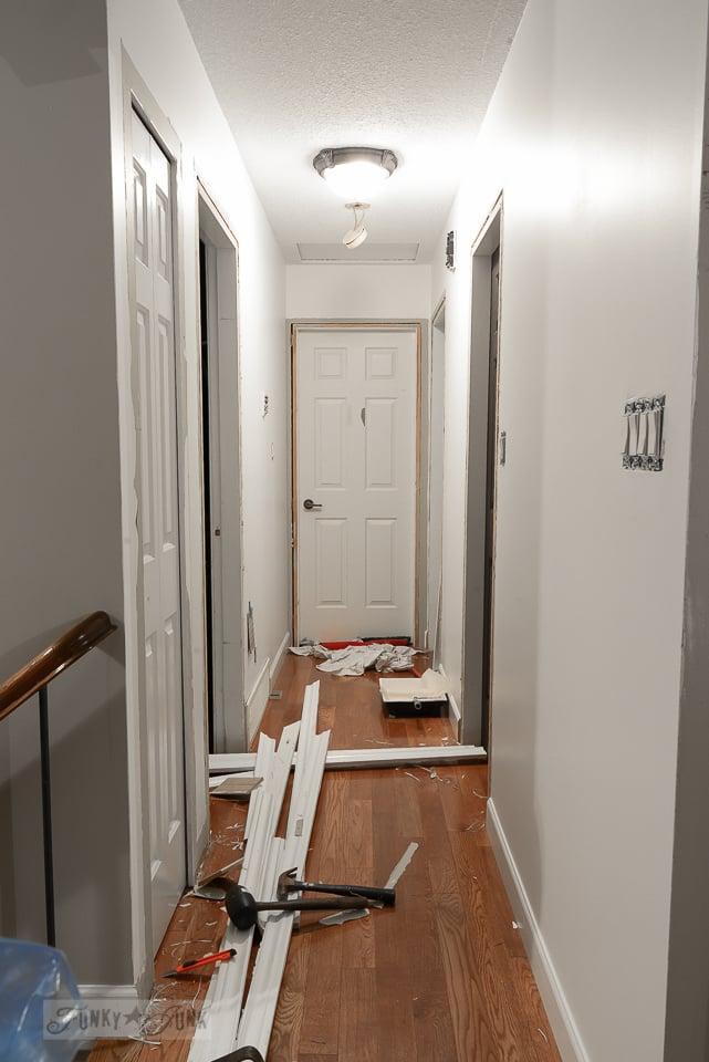 repainted white hallway