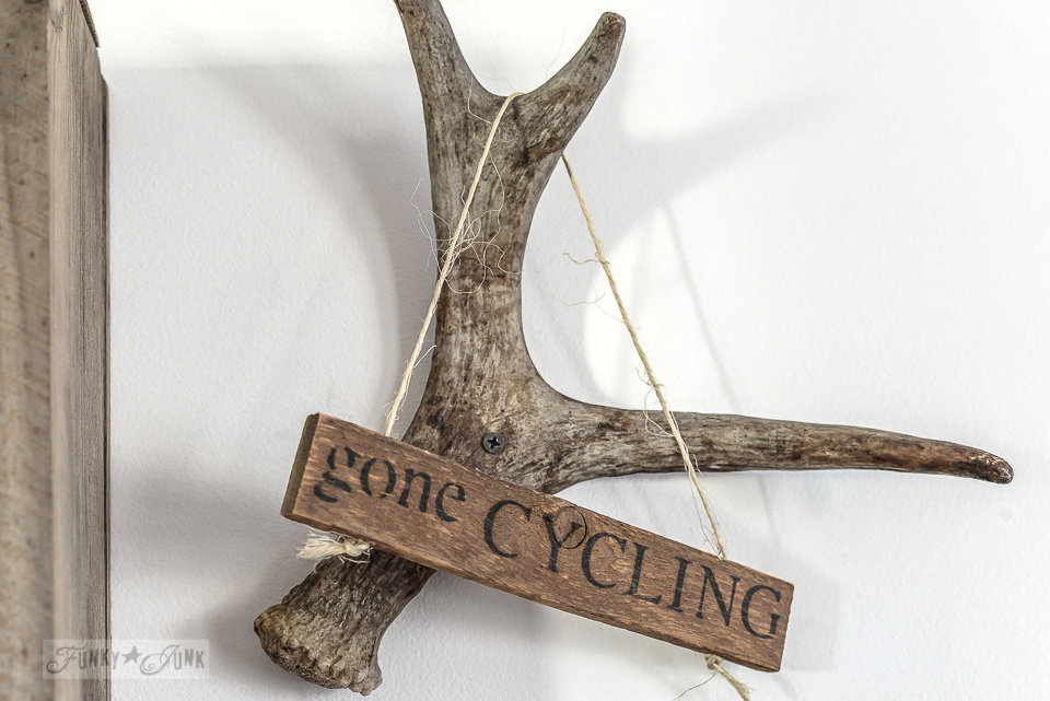 antler hanging an old gone cycling rustic sign / funkyjunkinteriors.net