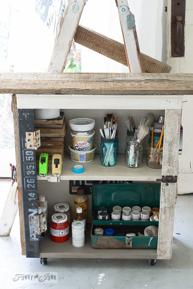 An organized paint cart / funkyjunkinteriors.net