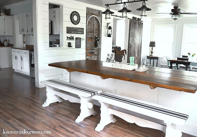 Not Your Average Barn Wood Table by Kammy's Korner, featured on Funky Junk Interiors