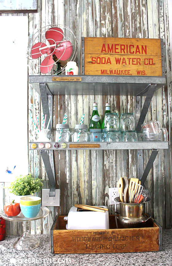 Old crate kitchen storage ideas, by Robb Restyle, featured on Funky Junk Interiors