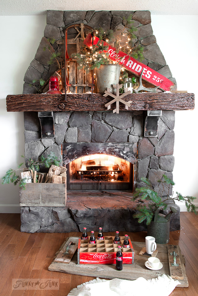 Santa's Picnic By The Campfire: A Christmas Mantel, with a Christmas Sign Sleigh Rides, part of Funky Junk's Old Sign Stencils / funkyjunkinteriors.net