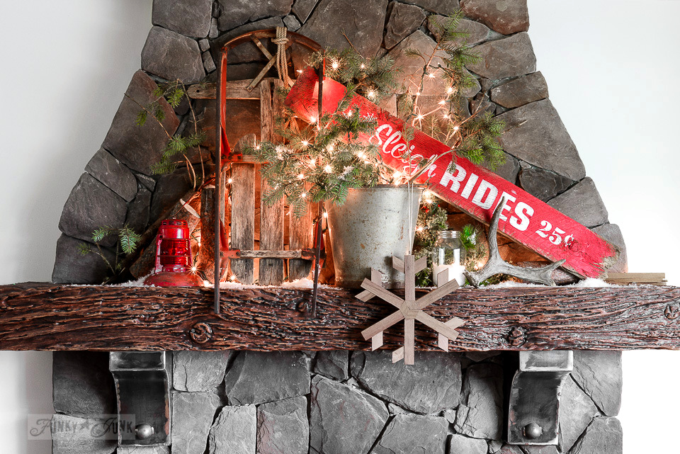 Santau0027s Picnic By The Campfire: A Christmas Mantel, With A Christmas Sign  Sleigh Rides