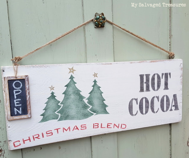 Hot cocoa OPEN sign by My Salvaged Treasures, featured on Funky Junk Interiors