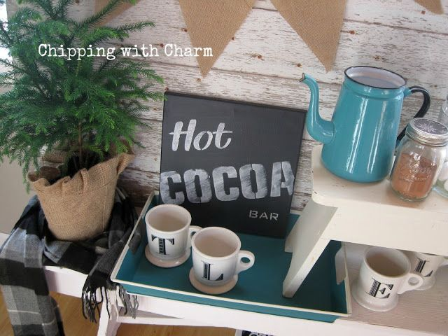 Faux Chalkboard Hot Cocoa Christmas signs, by Chipping with Charm, featured on Funky Junk Interiors