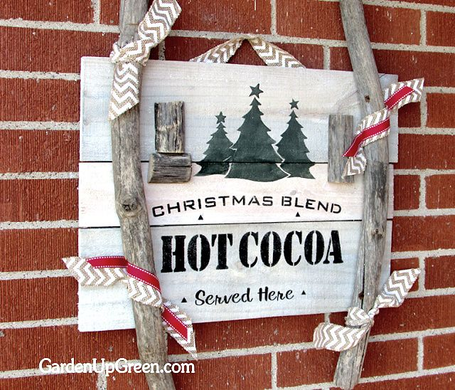 Reclaimed wood hot cocoa sign, by Garden Up Green, featured on Funky Junk Interiors