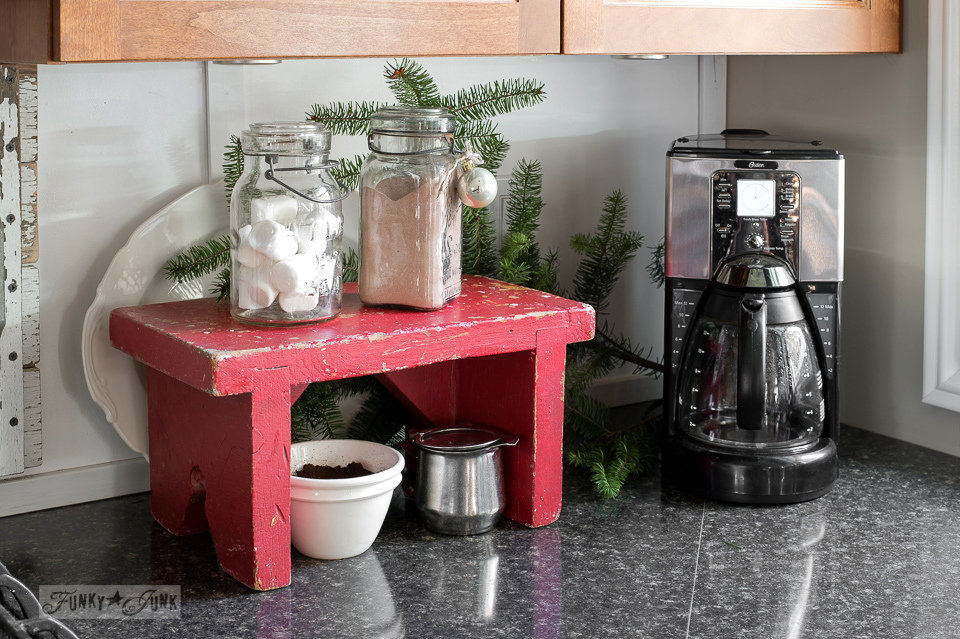 Christmas decorating in the kitchen a red bench hot cocoa and coffee station / funkyjunkinteriors.net