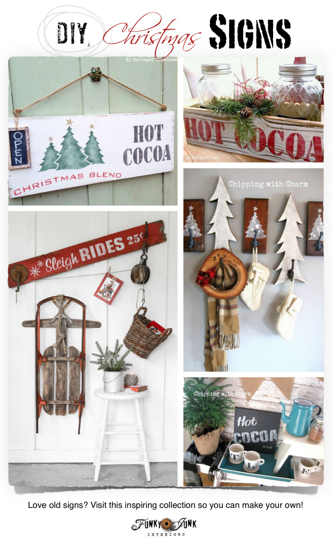 DIY Christmas Signs with Funky Junk's Old Sign Stencils and many others! Features and a link party on www.funkyjunkinteriors.net
