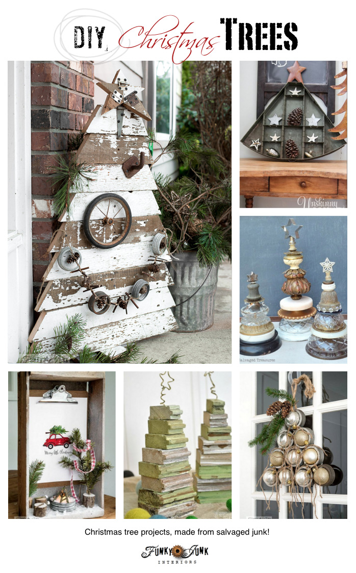 DIY Christmas Trees made from Salvaged Junk