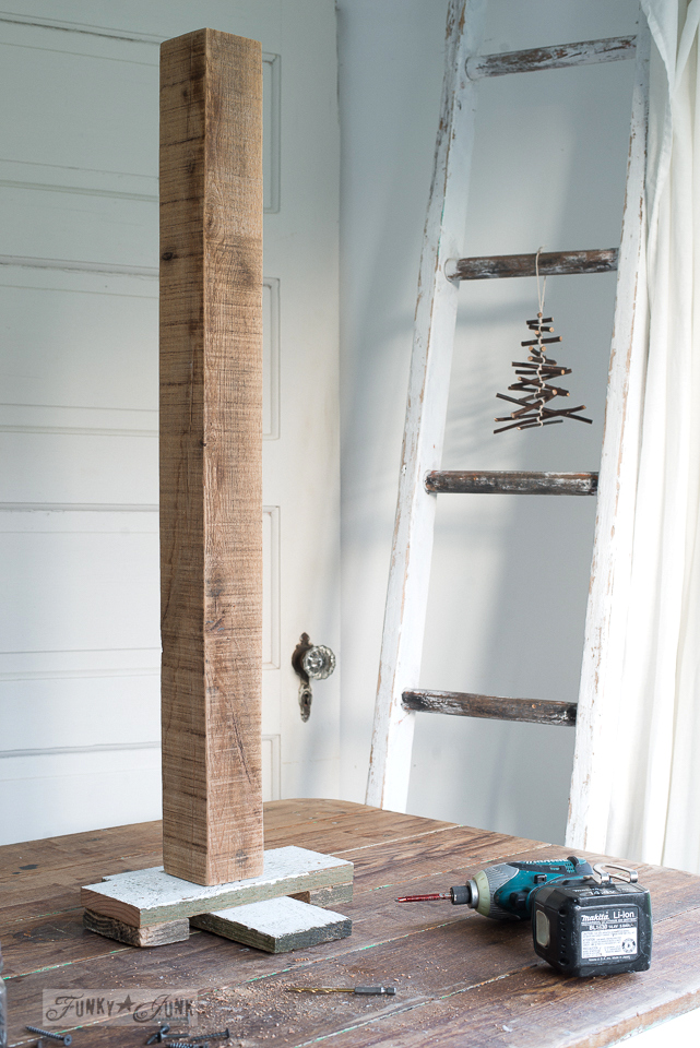 creating a stand for a DIY reclaimed wood Christmas tree using a Makita drill / funkyjunkinteriors.net