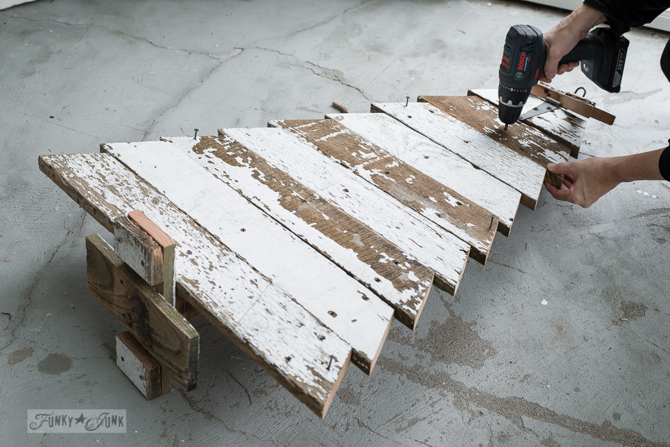 attaching angled boards for a reclaimed wood christmas tree funkyjunkinteriorsnet - Wooden Christmas Decorations To Make
