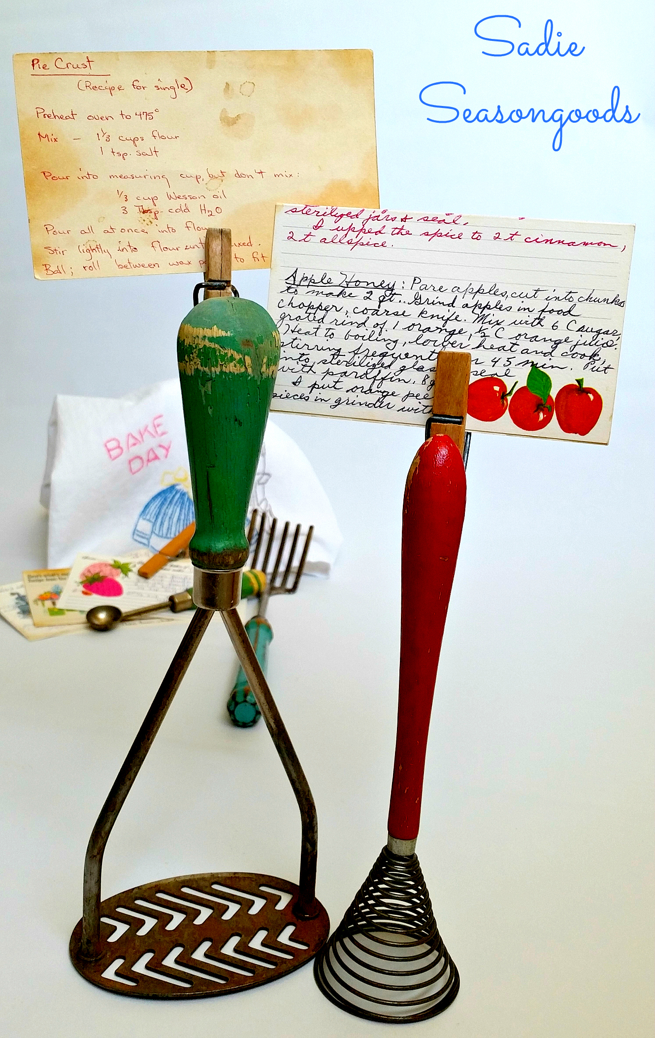Vintage Cooking Clips- Recipe Card Holders by Sadie Seasongoods, featured on Funky Junk Interiors