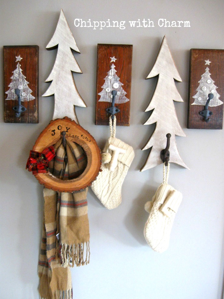 button embellished Christmas coat hook signs