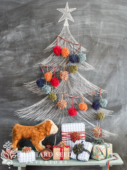 Chalkboard and pom poms Christmas tree, by Miss Mustard Seed, featured on Funky Junk Interiors