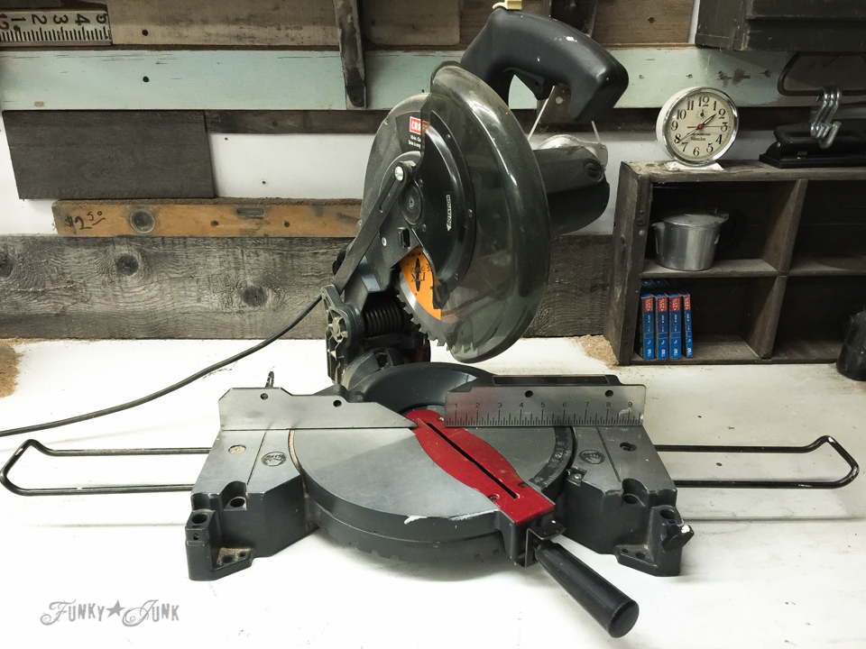 Miter saw / Basic must have DIY tools and workspaces (with sources) - funkyjunkinteriors.net
