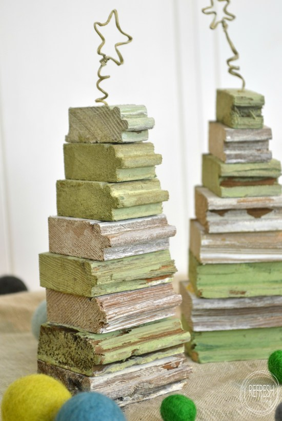 Scrap wood Christmas trees, from Refresh Living, featured on Funky Junk Interiors