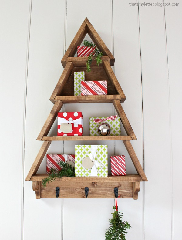 DIY Christmas tree shelf, by That's My Letter, featured on Funky Junk Interiors