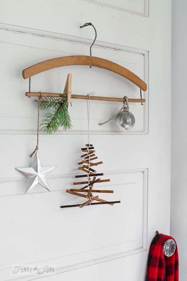 Rustic twig Christmas tree ornament on a vintage hanger / funkyjunkinteriors.net