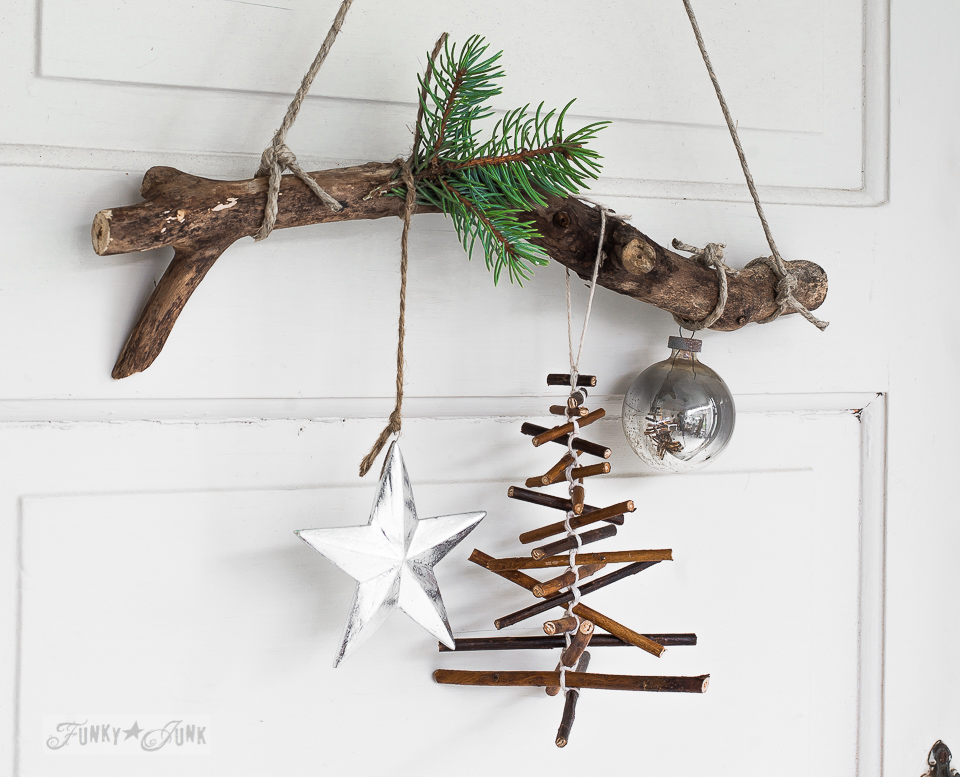 Hanging twig Christmas tree made with string