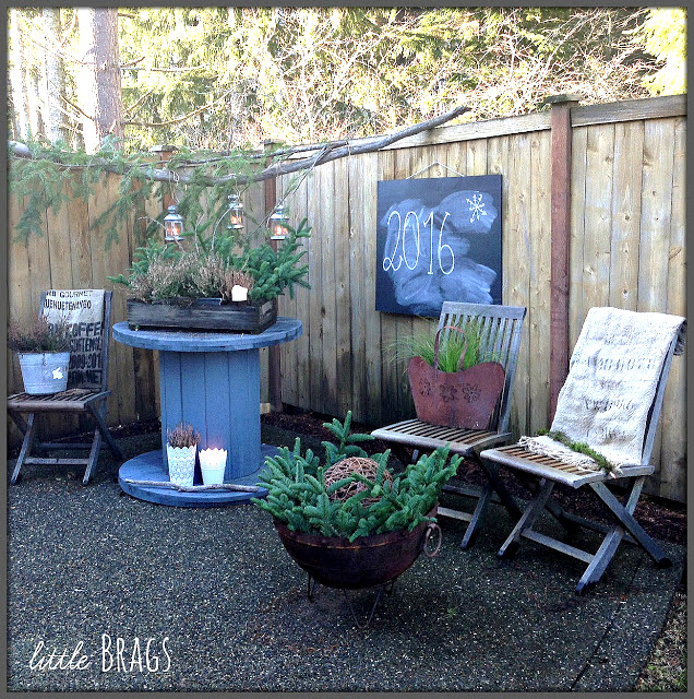 Wintery outdoor decor, by Little Brags, featured on Funky Junk Interiors