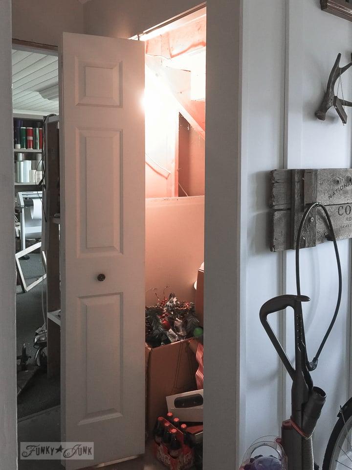 stairway closet before