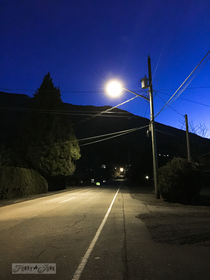 lamp post illuminated road during a night walk / part of Just call me the night rider - on working out. Or lack thereof... / funkyjunkinteriors.net