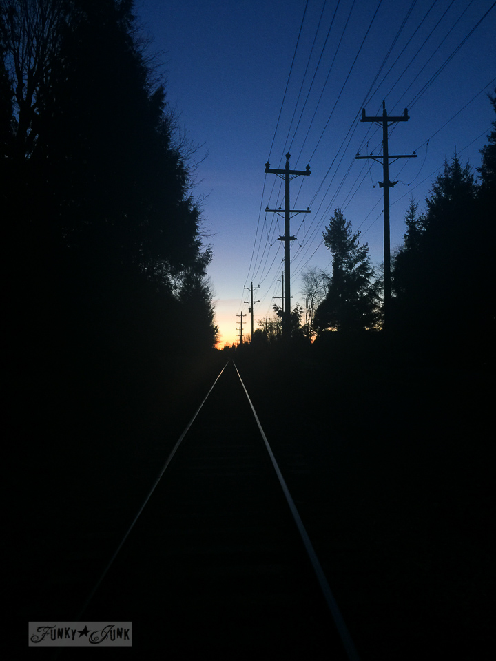 sunset on the train tracks / part of Just call me the night rider - on working out. Or lack thereof... / funkyjunkinteriors.net