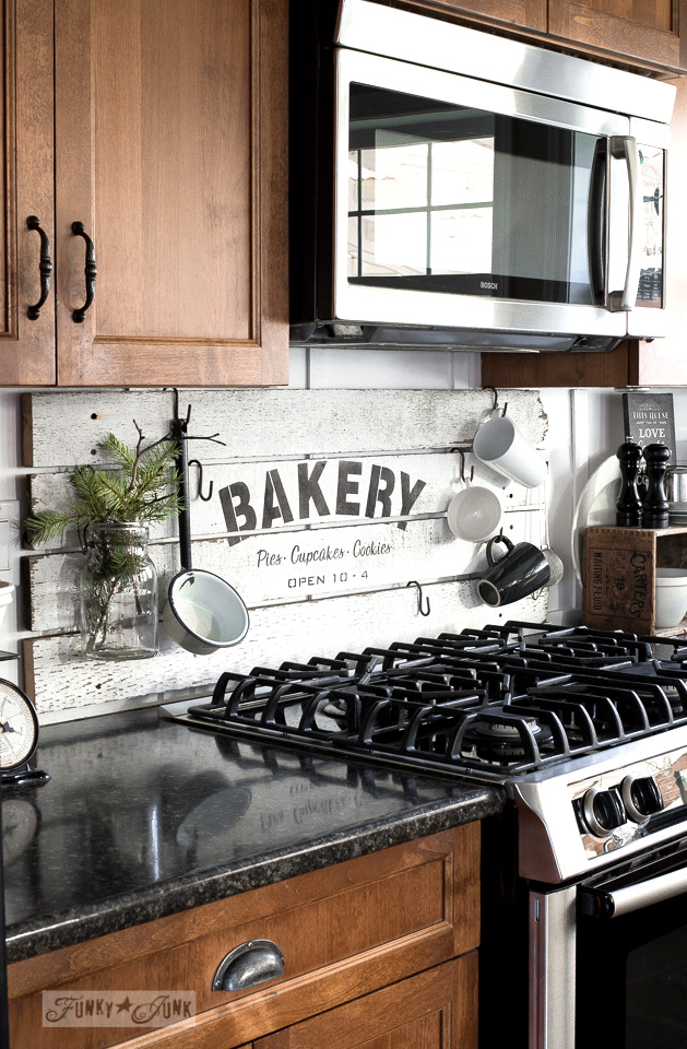 Shiplap styled BAKERY sign, using Funky Junk's Old Sign Stencils / funkyjunkinteriors.net