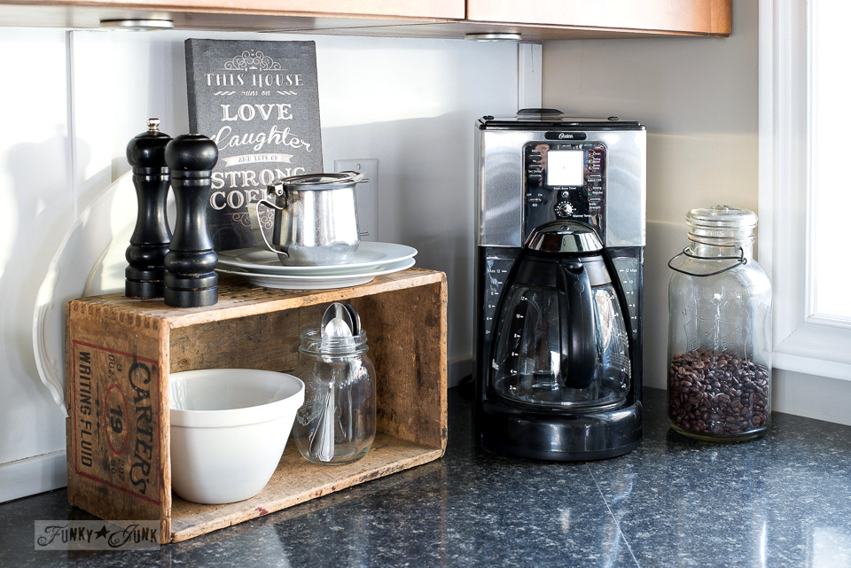 Old Crate Coffee Station In A Kitchen | Funkyjunkinteriors.net