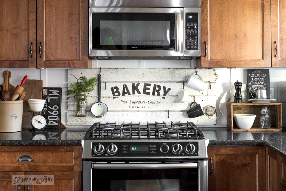 BAKERY sign in a kitchen / funkyjunkinteriors.net