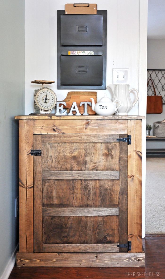 How to Build a Small Farmhouse Buffet, by Cherished Bliss, featured on Funky Junk Interiors