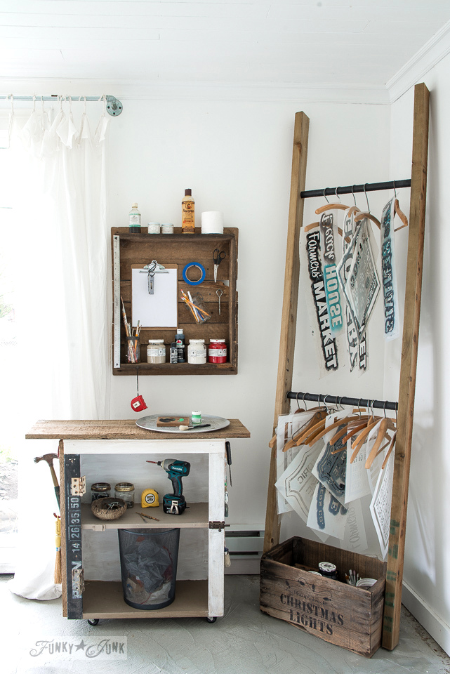 Cool, compact DKY ladder stencil organizer as a craft workstation with paint cart and rustic table top wall shelf : funkyjunkinteriors.net