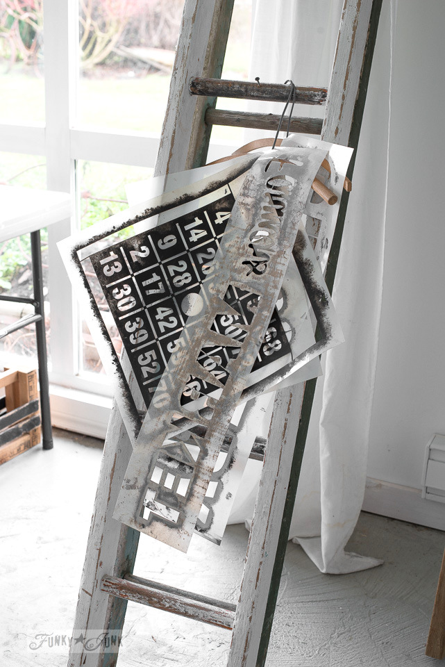 The making of a DIY ladder stencil organizer : funkyjunkinteriors.net