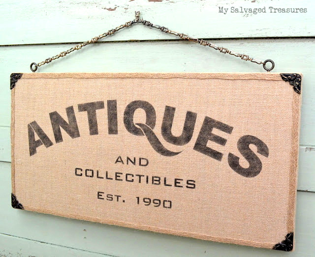 How to turn plain burlap into a beautiful Antiques sign with MEANING, by My Salvaged Treasures, featured on Funky Junk Interiors