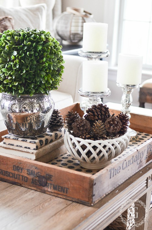 Early winter vignette in a crate, by Stone Gable, featured on Funky Junk Interiors