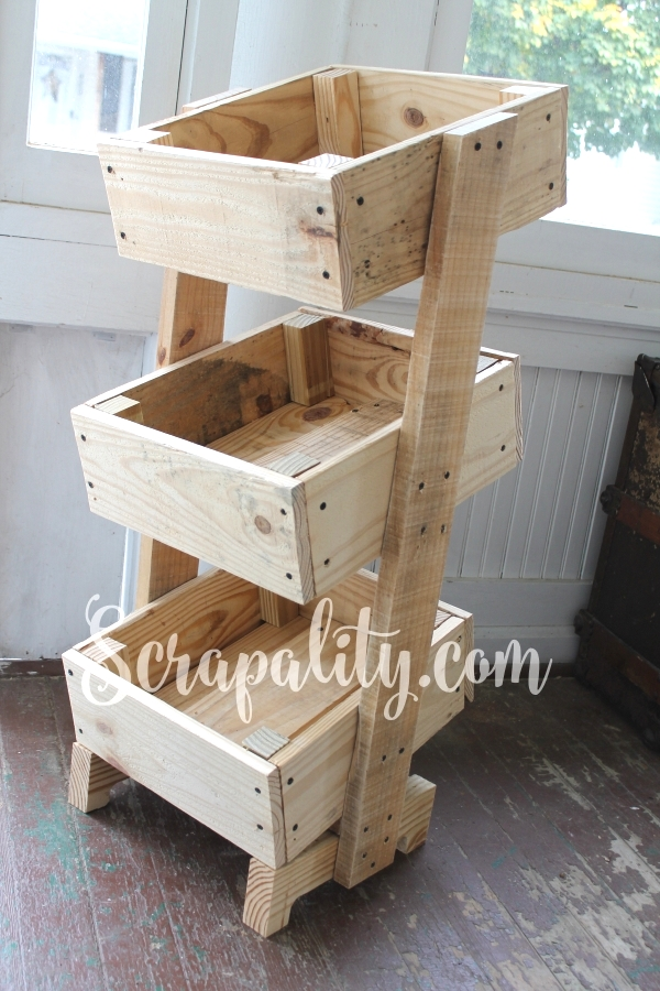Rustic Potato Bin Made Using One Pallet, by Scrapality, featured on Funky Junk Interiors