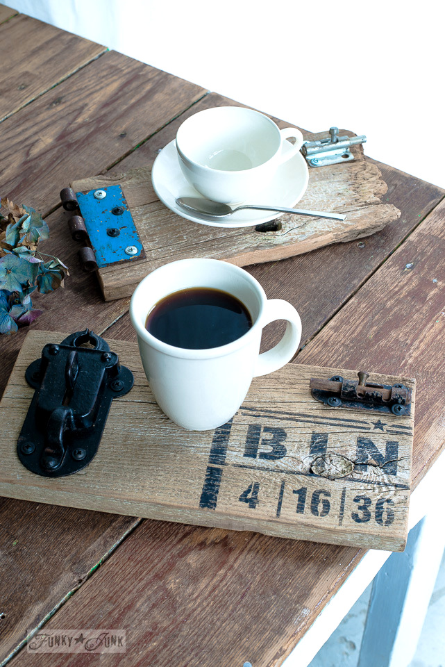 Reclaimed wood gate coasters for a bigger coffee adventure / with BINGO : Funky Junk's Old Sign Stencils : funkyjunkinteriors.net
