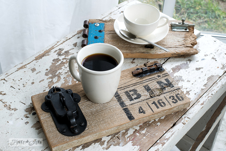 Reclaimed wood gate coasters on a white, chippy bench / with BINGO : Funky Junk's Old Sign Stencils : funkyjunkinteriors.net